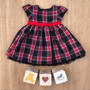 Carters Baby Girl Red and Black Plaid Tartan Dress